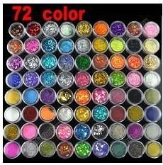 72 Pots 6 Kinds Colorful Nail Art Glitter Powder Decoration Crush Shell Bead 2018 Drop