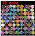 72 Pots 6 Tipos de Colores de Uñas Polvo Arte Escarcha Decoración Crush Shell Bolas 2018 de La Gota