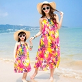 New summer Family mother daughter dresses Yellow flower chiffon dress  beach dress beautiful party belt long dresses