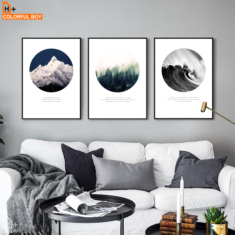 COLORFULBOY Snow Mountain Forest Ocean Wall Arts
