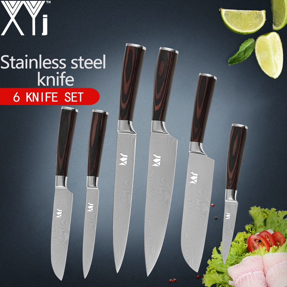 Stainless Steel Kitchen Knives Set 3 pcs 5CR15 Japanese Style Chef ...