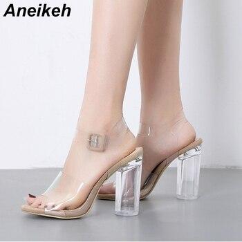 Aneikeh 2019 Fashion PVC Shoes Sandals Crystal Leopard Open Toed High Heels Women Transparent Heel Sandals Pumps 11CM Size 35-40 sandal