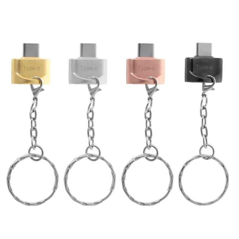 Durable Metal USB 3.1 Type-C Male To USB 2.0 A Female OTG Data Adapter & Key Chain Type C OTG Adapter Keyring
