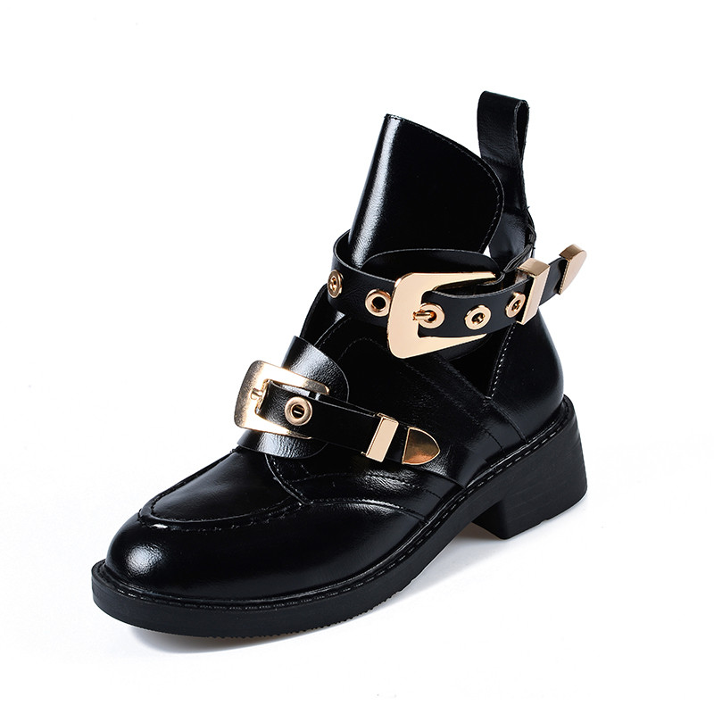 Women s Summer Boots 2019 Leather Ankle Boots For Woman Fashion Gold Silvery Shoes Cut Out