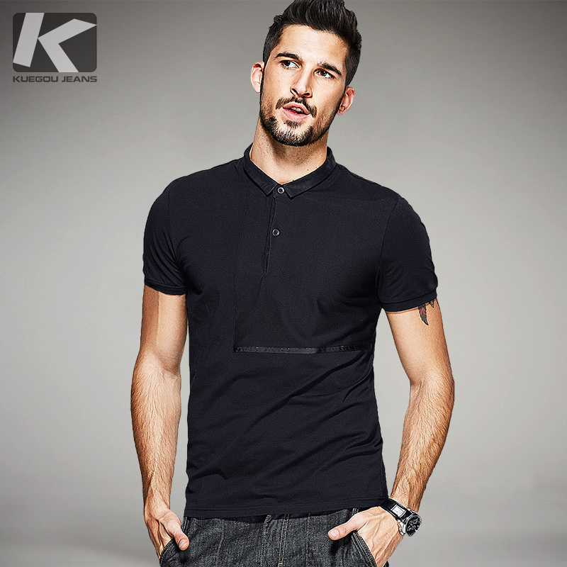 9873203433ec KUEGOU 2017 Summer Mens Polo Shirts Patchwork Black Color Brand Clothing  Man s Wear Short Sleeve Clothes Male Slim Fit Tops 1537-in Polo from Men s  Clothing ...