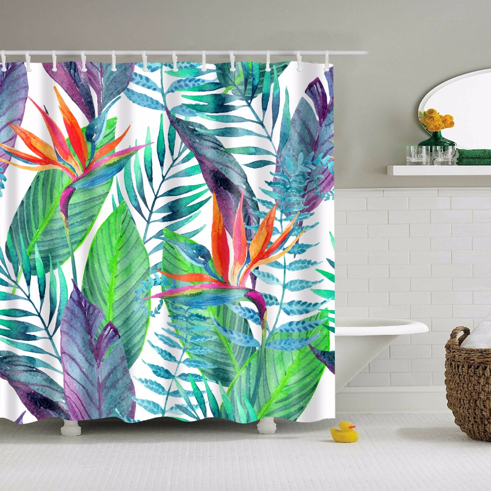 LFH 180X180CM Tropical Palm Parrot Polyester Fabric Waterproof ...