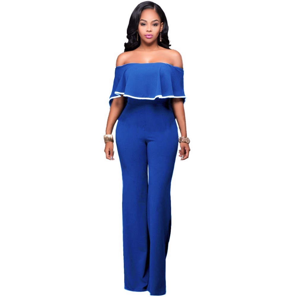CUYIZAN Women Bodysuits Sexy Rompers Vintage women ruffles jumpsuit sexy off shoulder slash neck bodysuits women cape jumpsuits