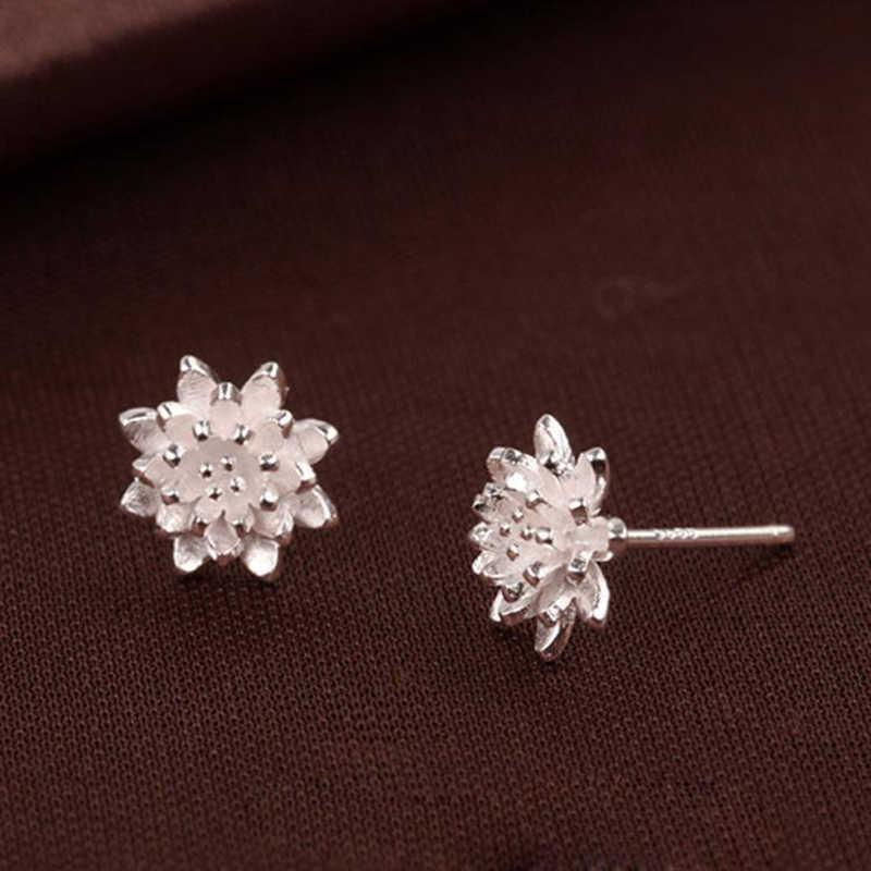 DIY милые женские ювелирные изделия ручной работы женские 925 Серебряный Лотос цветочные серьги-гвоздики серьги Модные ювелирные изделия
