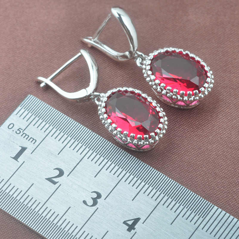 925 Sterling Silver Jewelry Set Occident Style Rose Red Zircon Oval Wedding Jewelry Necklace Pendant Earrings Ring  TZ0190