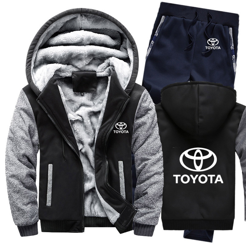 Hoodies Men Toyota Car Logo Mens Hoodies Suit Winter Thicken Warm Fleece Cotton Zipper Tracksuit Mens Jacket+Pants 2Pcs Sets