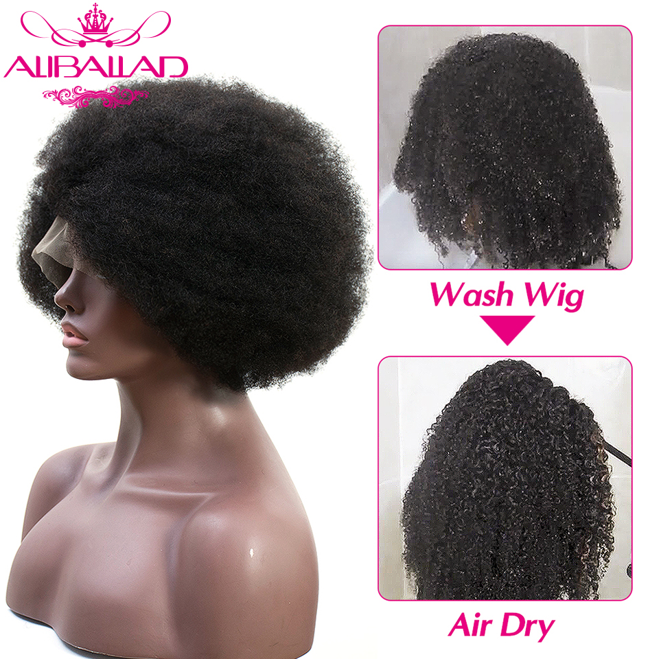 Short Afro Kinky Curly 13*4 Lace Front Human Hair Wigs Glueless Brazilian Remy Frontal Wig For Black Women 4C/4B Curl ALIBALLAD