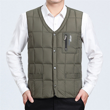 2019 New Fashion Ultra Light Down Vest Men Spring Autumn Sleeveless Collarless Vest Male Casual Winter White Duck Down Waistcoat cheap REGULAR Thin (Summer) Single Breasted NONE Polyester 100g-150g GYQ vest 0 35 Solid Broadcloth Zippers