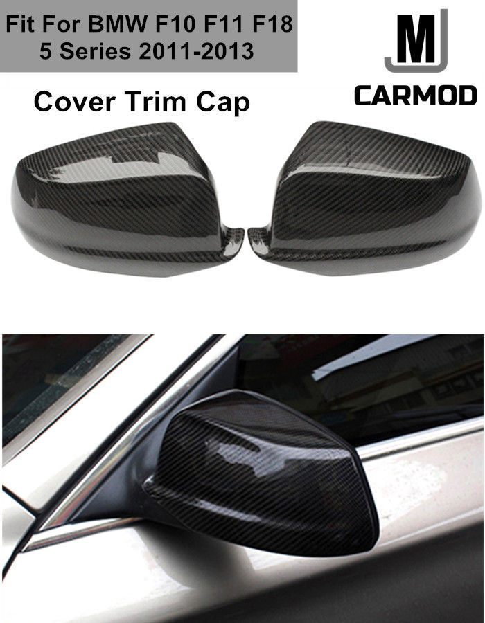 2Pcs Carbon Fiber Side Mirror Cap Covers for BMW 5 Series 2014-2015 F10 F11 F18