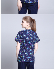 New Print Design Cotton Medical Scrub Sets Unisex Hospital Workwear Uniforms Short Sleeve Scrub