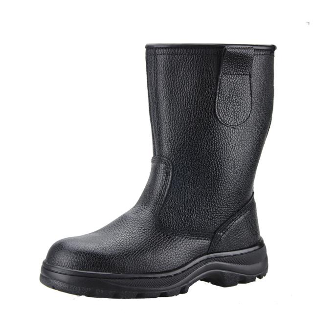 Tamaño grande estupendo hombres puntera de acero de cuero negro suave zapatos de trabajo de seguridad a prueba de pinchazos altas botas de herramientas al aire libre botines zapatos