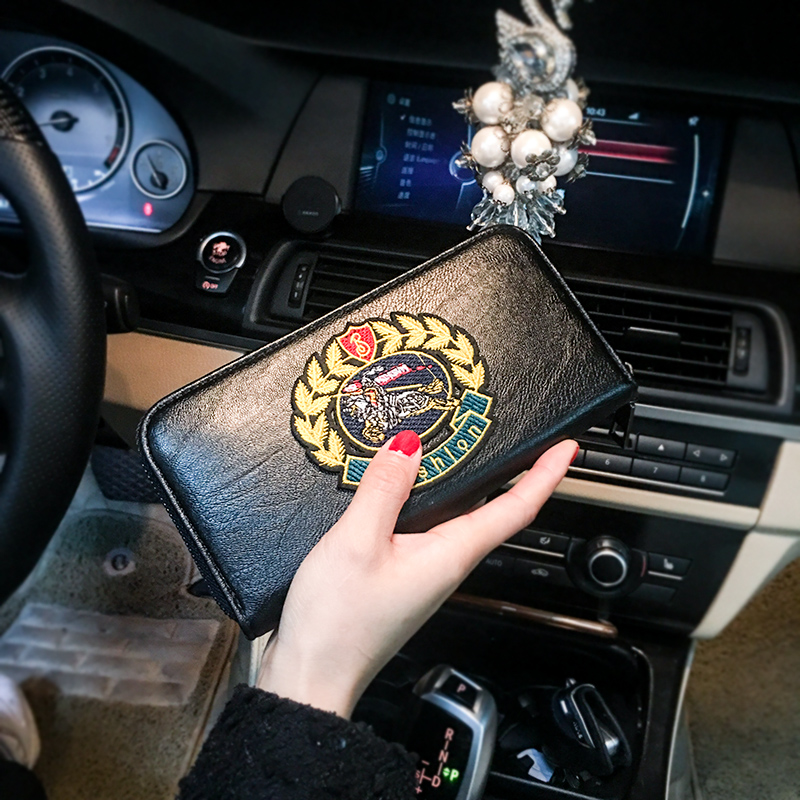 Wallet Women Personality Embroidery Retro Long Wallet Zipper Bag Leather man Clutch Bag Mobile Phone Business Female Wallet 47