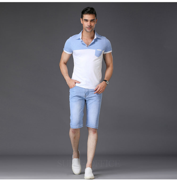 SULEE Brand 2019 męskie spodenki jeansowe dobrej jakości krótkie dżinsy męskie bawełniane solidne proste krótkie dżinsy męskie niebieskie dorywczo krótkie dżinsy