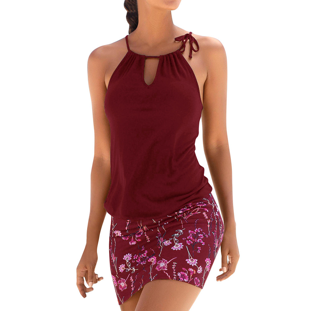 Женское платье Лето модные женские платья повседневные без рукавов Ретро Холтер принт пляжное мини платье пляжное платье - Цвет: Wine Red