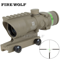 Trijicon Tactical Acog Style 4x32 Rifle Scope Tan Red Dot Green Optical Fiber 20mm Rail