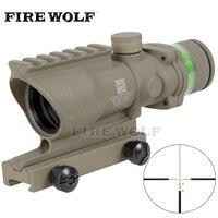 Trijicon Tactical Acog Style 4x32 Rifle Scope Tan Red Dot Green Optical Fiber 20mm Rail