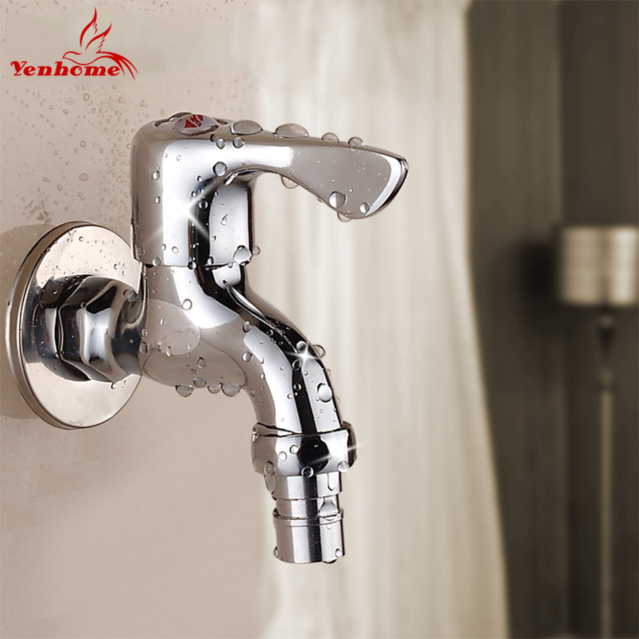 Yenhome Modern Traditional Chrome Solid Brass Bathroom Lever Basin Sink Water Tap Kitchen Faucets Washing Machine