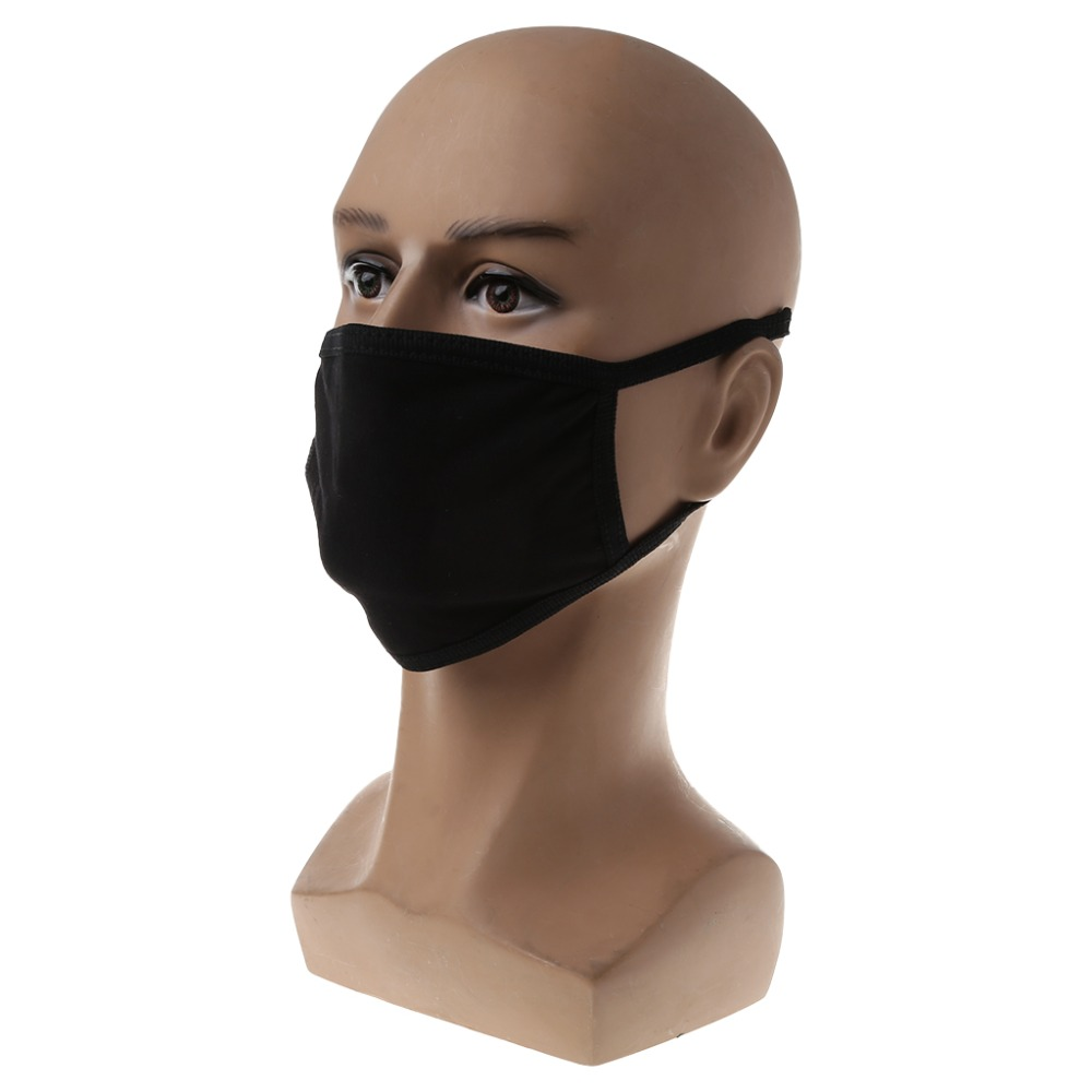 ZLROWR 2pcs Black Health Cycling Anti-Dust Cotton Mouth Face Respirator Unisex Mask zlrowr 2pcs black health cycling anti dust cotton mouth face respirator unisex mask