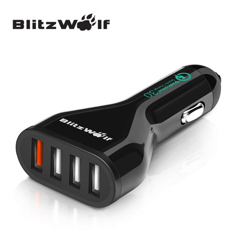 Blitzwolf BW-C10 54 W carga rápida universal QC3.0 certificado 4 Puerto USB cargador de coche adaptador con cable y Power3S para teléfono