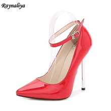 Spring Autumn Women Wedding Shoes Black Red Thin High Heels Shoes Pumps Ankle Strap Patent Leather Dress Shoes MS-A0047 цена