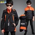 Детская одежда ребенка 2016 зима ватные куртки верхняя одежда ребенка открытый ветрозащитный куртка мальчик пальто 6-16лет