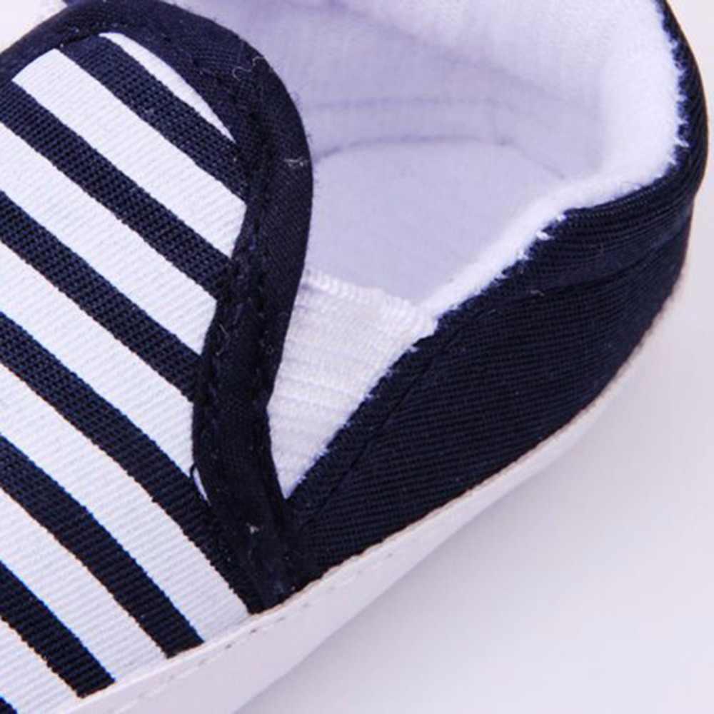 Weixinbuy bebê meninos sapatos infantil deslizamento-em primeiros caminhantes criança listrado lona sneaker bebek ayakkabi