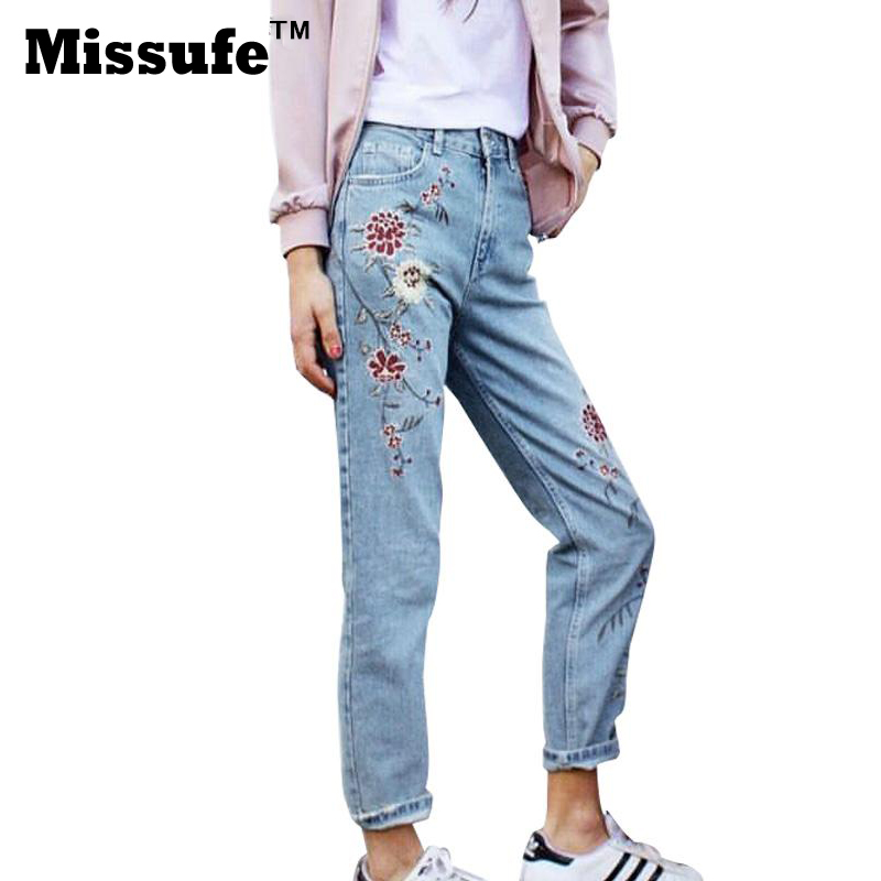 Missufe Flower Embroidery Jeans Women High Waist Light Blue Female Pencil Pants 2017 Ladies Capris Casual Bottom Women's Jeans women jeans vintage flower embroidery high waist pocket straight jeans female bottom light blue hole casual pants capris new