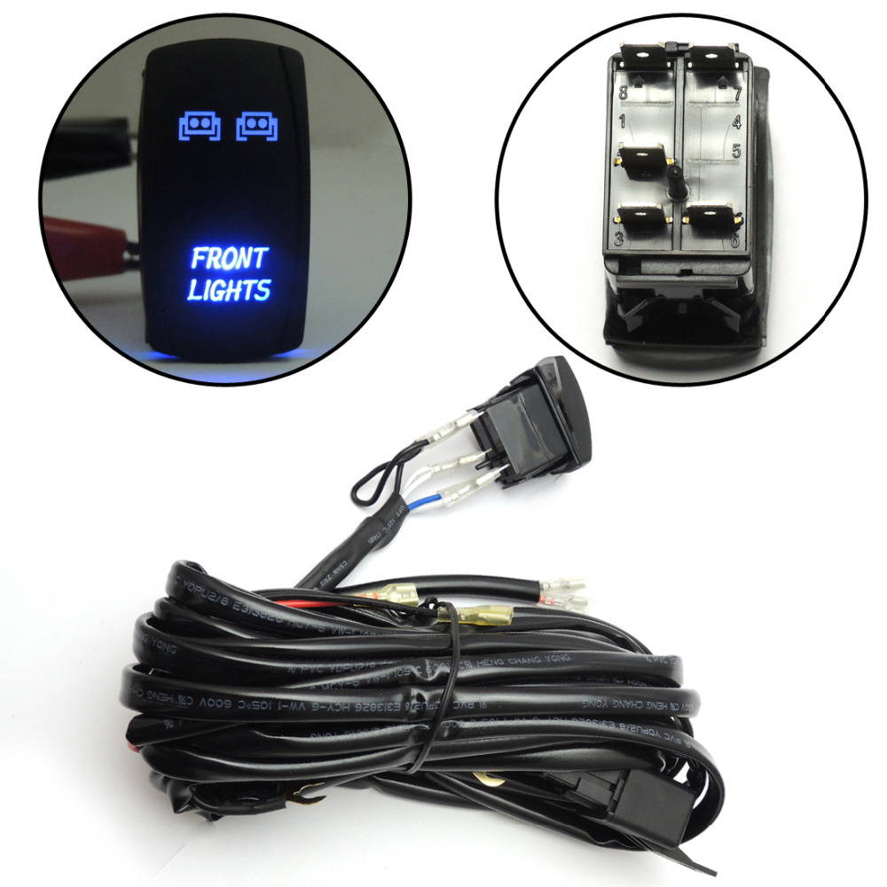 Blue led lights bar laser front rocker switch wiring