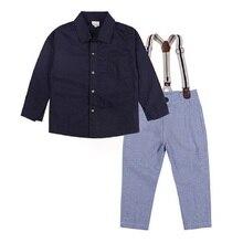 Fashion Baby Boys Clothes Suits Children Handsome 2-Pieces Set Kids Black Shirt + Braces Trouser Outfits Boys' Romper Pant