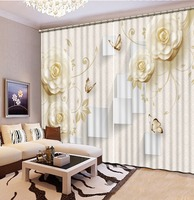 Beige Curtains For Living Room Blackout 3D Curtain Fabric Beautiful Rose Art Design Curtains
