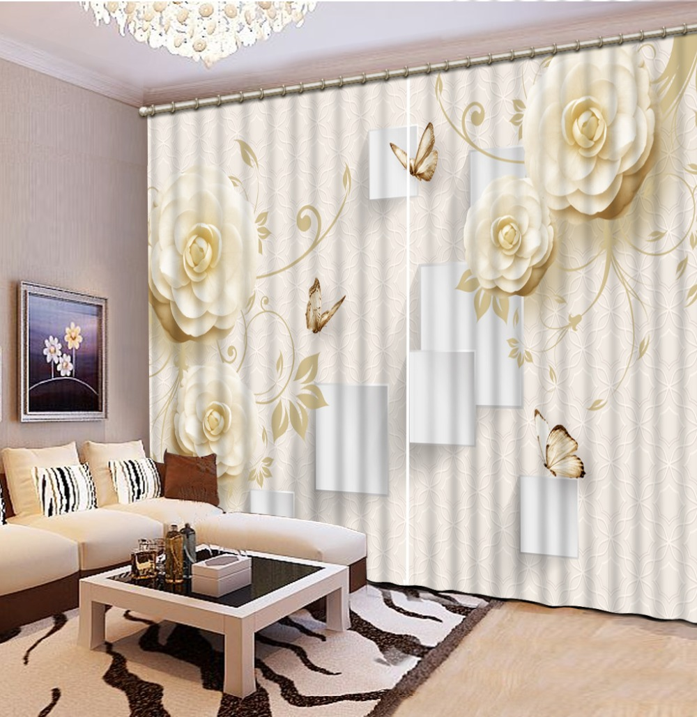 Beige Curtains For Living Room Blackout 3D Curtain Fabric