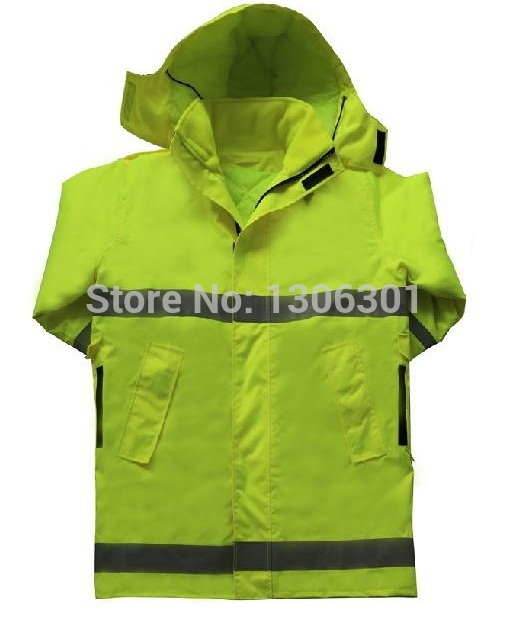 New style Reflective raincoats Traffic cotton raincoat Double uses Thermal coat warning safety raincoat extended hong kong style oxford cloth long sleeve raincoat warning reflective waterproof outdoor overalls many pockets printable