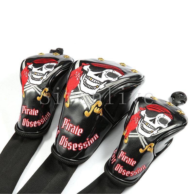 8bd3fc0be44 Siranlive Pirate  1  3  5 H Golf Wood Headcovers 4PC Set 460CC Driver Fairway  Wood Hybrid PU Leather Head Covers Set ...