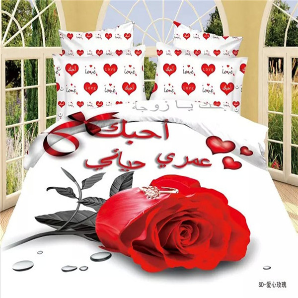 Home Textile 3D Bedding Set Rose Flower Duver Cover Red Heart White Bed  Sheet Queen Size Lover Bed Set Bedspreads/pillowcases In Bedding Sets From  Home ...