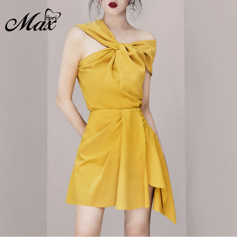 Max Spri 2019 New Fashion Asymmetrical Neckline Ruched Top Mini Wrap Skirt Office Lady 2 Pieces Sets Women Party Outfit Yellow