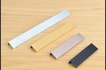 Modern simple cabinet door edge handle wardrobe drawer pulls black hidden furniture handles Zinc alloy kitchen cabinet knob