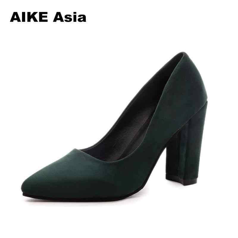 757c6476459c ... 2018 Women Pumps Ankle Strap Thick Heel Women Shoes Square Toe Mid Heels  Dress Work Pumps ...