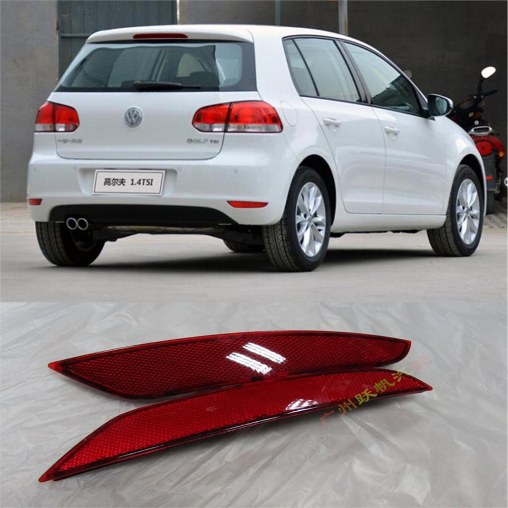 2Pcs Rear Bumper Light Reflector Cover Trim For Volkswagen Golf MK6 Standard 2009-2011