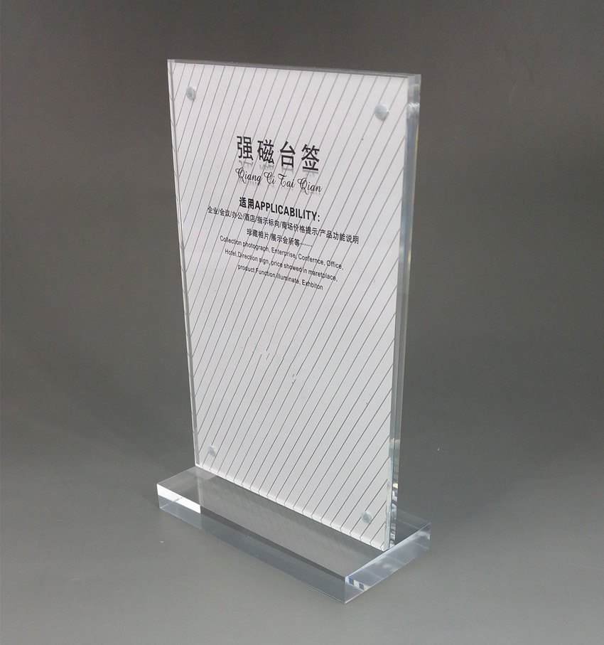 Style; A4 210x297mm Clear Acrylic Sign Display Paper Card Table Label Holder Vertical L Stand With Magnet In Corner 50pcs Fashionable In