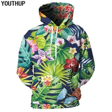 YOUTHUP 2018 New Autumn 3d Hoodies Men Women Hooded Floral Print Fashion Casual Sweatshirt Pullover Streetwear 5xl