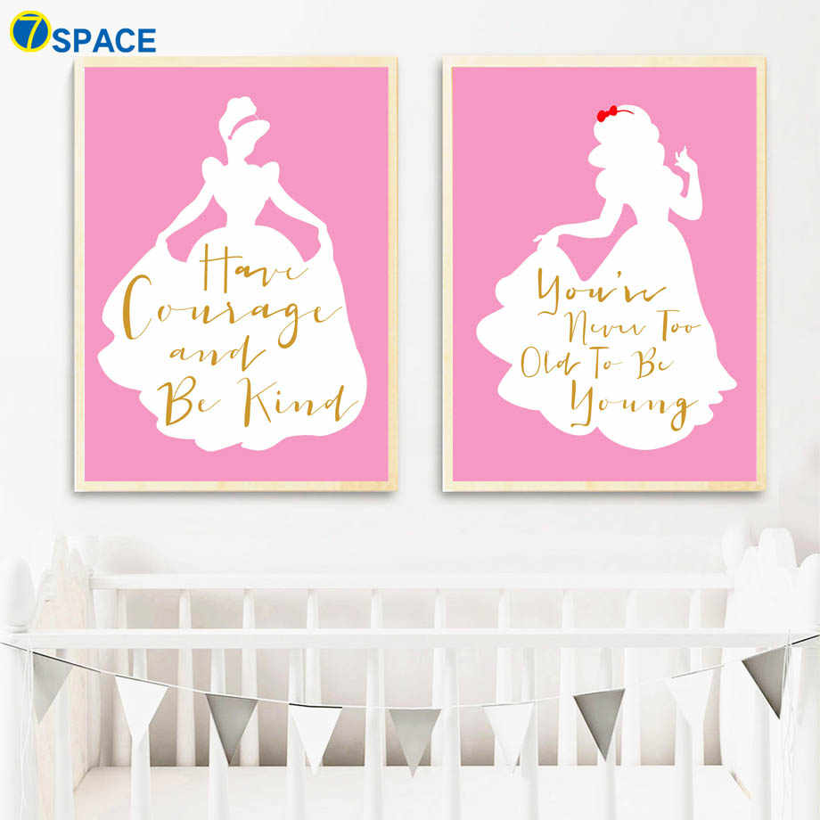 Little Girl Princess Motivational quotes Wall Art Canvas Painting Posters  And Prints Nursery Wall Pictures Baby Girl Room Decor