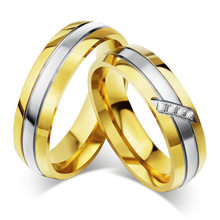 Gold Silver Color Stainless Steel Ring Cubic Zirconia Couple Wedding Ring Fashion Engagement Jewelry Quality Gift for Women Men(China)