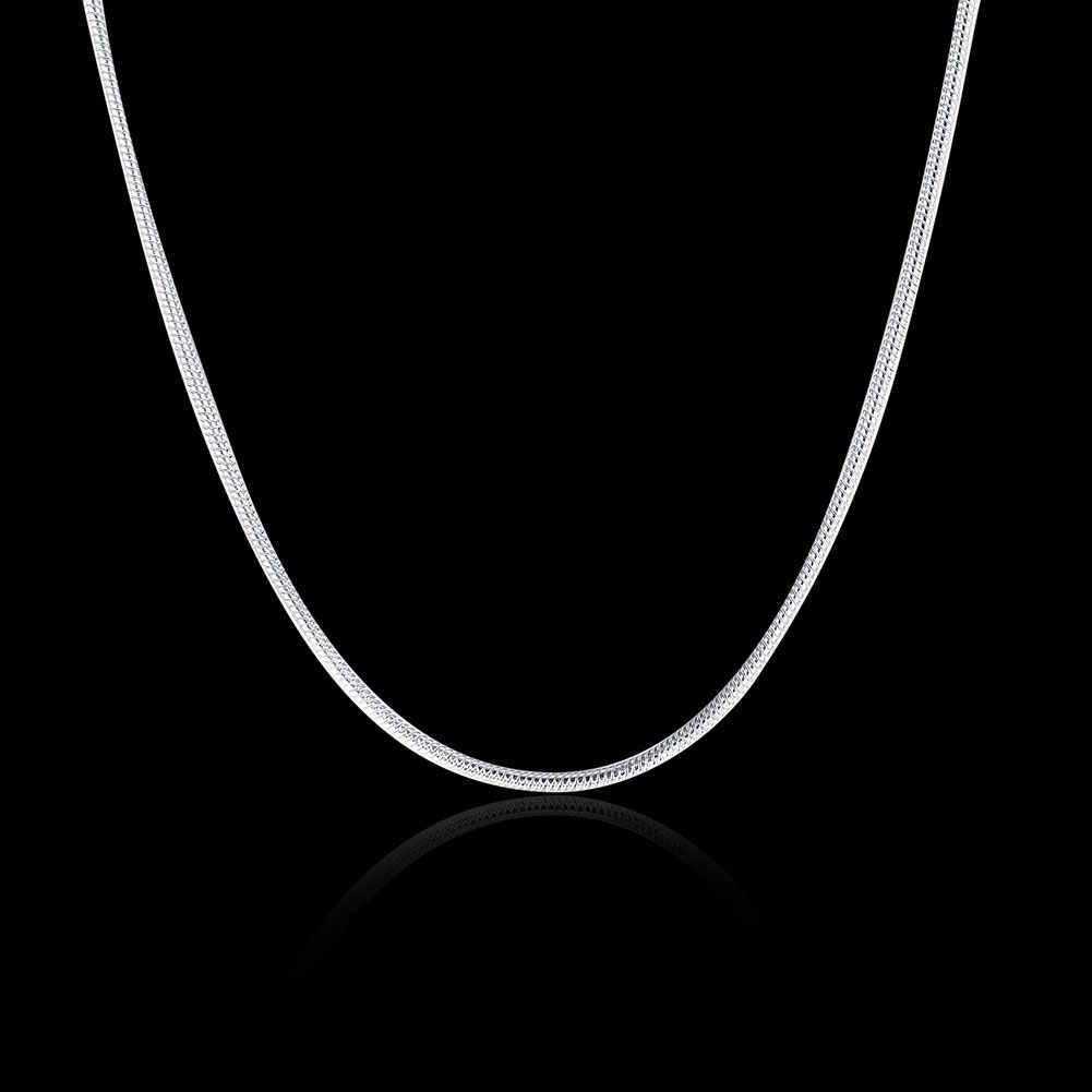 Hurt detal 16 18 20 22 24 cal piękna moda srebrna kolor 1MM wąż łańcuch biżuteria akcesoria kobiety mężczyźni luzem stamp 925
