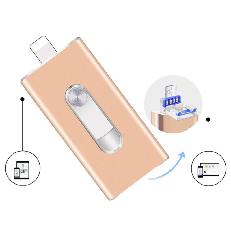 USB FLASH DRIVE OTG 64GB 128g Pen Drive 3 in 1 u disk for apple iphone Memory stick 16gb luxury android USB 2.0 pendrive i drive