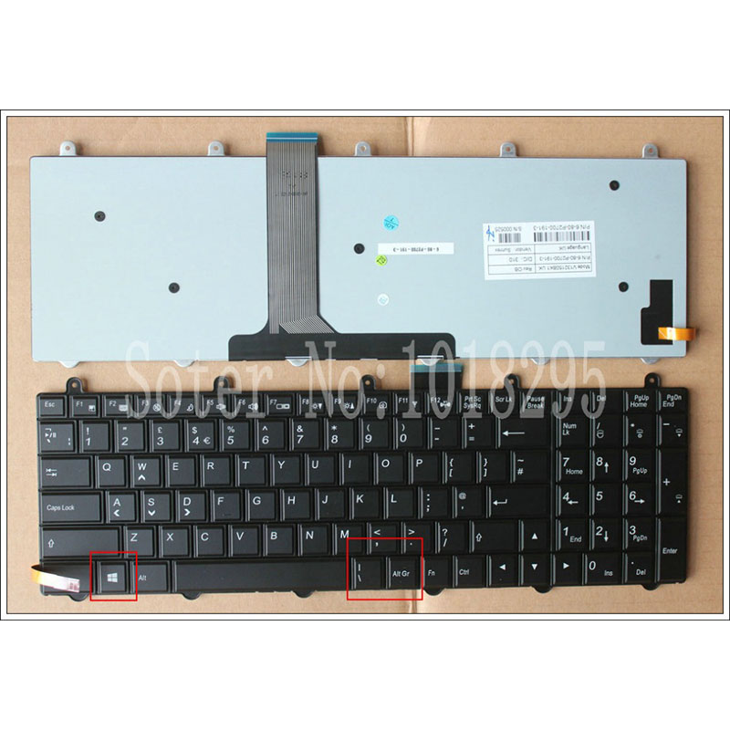 NEW UK Laptop Keyboard with backlight For Clevo P157SM P177SM P170SM Black series V132150BK1