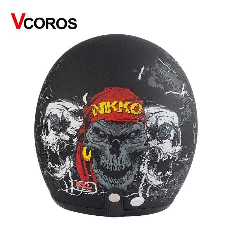 Casque moto Vintage casque Jet casco rétro face ouverte pour moto rcycle scooter pilote vespa casque moto marque VCOROS